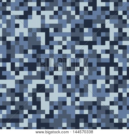 Blue winter pixel camouflage seamless vector background