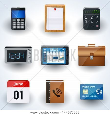 Business and office realistic icons vector collection