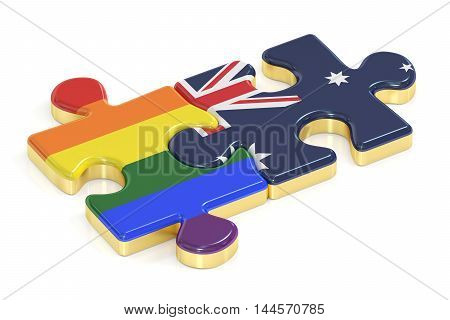 Gay Pride Rainbow and Australia puzzles from flags 3D rendering