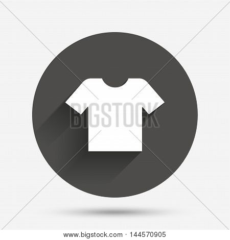 T-shirt sign icon. Clothes symbol. Circle flat button with shadow. Vector