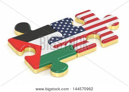 Palestine and USA puzzles from flags 3D rendering