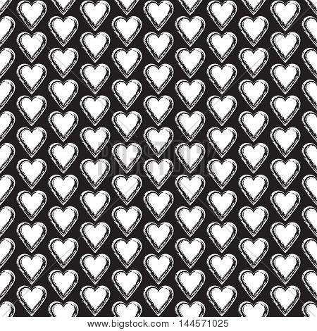 Seamless background with hearts. Love art. Romantic ornament. Valentine pattern. Elegant backdrop for cards invitations. Vector illustration.