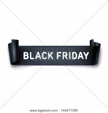 Black Friday Sale Inscription Design Template With Black Detailed Curved Ribbon. Black Friday Banner