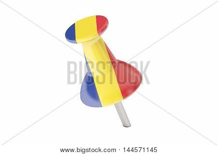 Push pin with flag of Romania 3D rendering isolated on white background