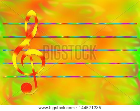 Red-and-yellow treble clef and multicolored staff on the bright color background