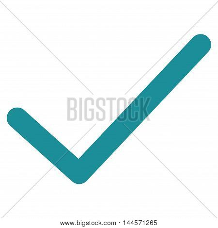 Ok Tick vector icon. Style is stroke flat icon symbol, soft blue color, white background.