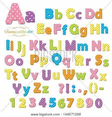 Cute polka dot funny font for kids. Letters and numbers.