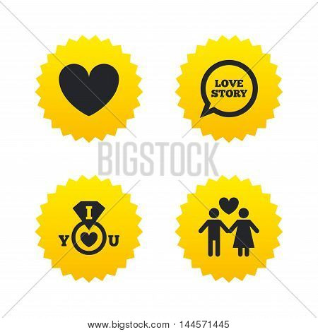 Valentine day love icons. I love you ring symbol. Couple lovers sign. Love story speech bubble. Yellow stars labels with flat icons. Vector