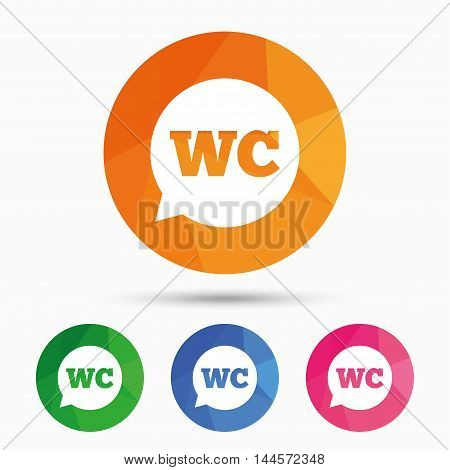 WC Toilet sign icon. Restroom or lavatory speech bubble symbol. Triangular low poly button with flat icon. Vector