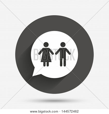Toilet sign icon. Restroom or lavatory speech bubble symbol. Circle flat button with shadow. Vector