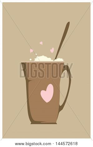 Vector illustration of a big cup of coffee with a milk foam. Flat style
