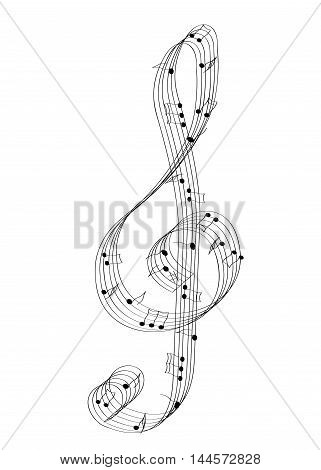 illustration of a black and white G key and musical notes.