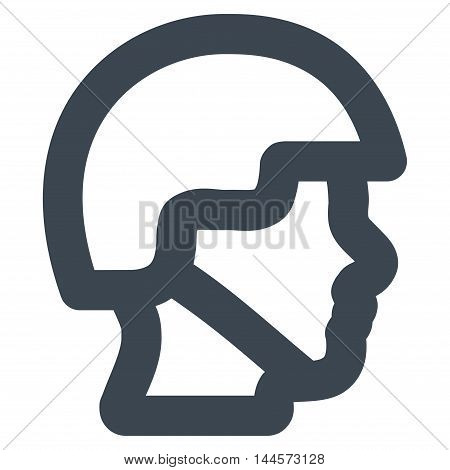 Soldier Head vector icon. Style is stroke flat icon symbol, smooth blue color, white background.