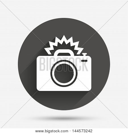 Photo camera sign icon. Photo flash symbol. Circle flat button with shadow. Vector