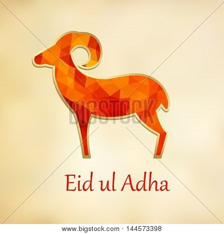Greeting card invitation with silhouette of polygonal sheep. Vector illustration background for Eid Ul Adha muslim holiday. Modern low poly design.