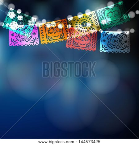 Dia de Los Muertos Mexican Day of the Dead card invitation. Party decoration string of lights handmade cut paper flags skull floral decor. Vector illustration blurred background.