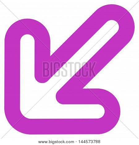 Left-Down Arrow vector icon. Style is stroke flat icon symbol, violet color, white background.