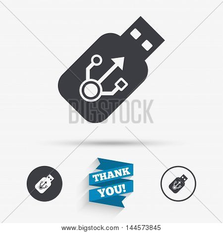 Usb sign icon. Usb flash drive stick symbol. Flat icons. Buttons with icons. Thank you ribbon. Vector