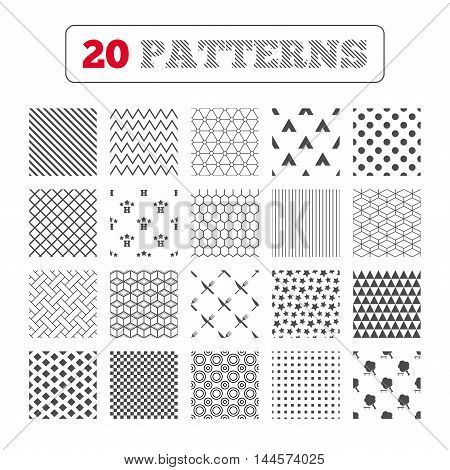 Ornament patterns, diagonal stripes and stars. Food, hotel, camping tent and tree icons. Knife and fork. Break down tree. Road signs. Geometric textures. Vector