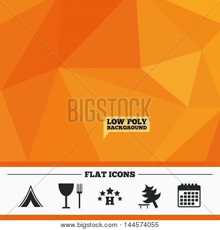 Triangular low poly orange background. Food, hotel, camping tent and tree icons. Wineglass and fork. Break down tree. Road signs. Calendar flat icon. Vector