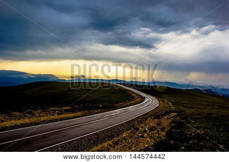 road in the country, mountain hills, highway, rain