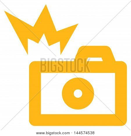 Camera Flash vector icon. Style is outline flat icon symbol, yellow color, white background.