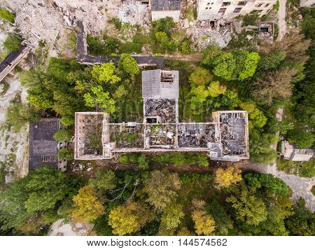 Aerial view of old destroyed ruined building in saint-Petersburg region, Russia