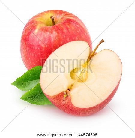 Isolated Cut Red Apple