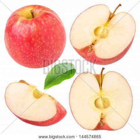 Collection Of Isolated Red Apple Pieces
