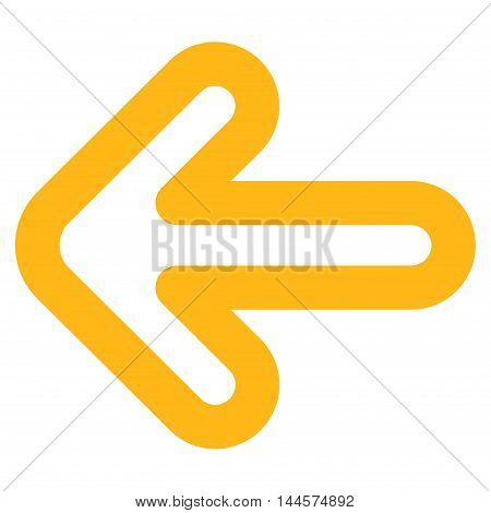 Left Arrow vector icon. Style is stroke flat icon symbol, yellow color, white background.