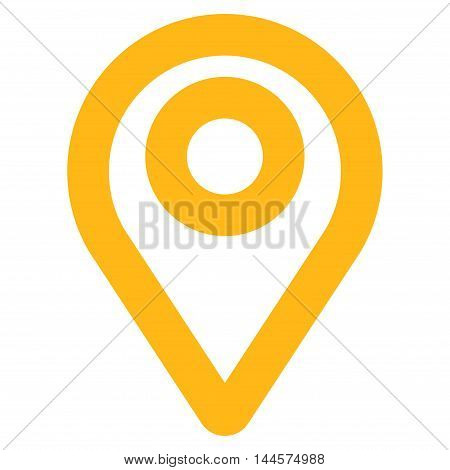 Map Pointer vector icon. Style is contour flat icon symbol, yellow color, white background.
