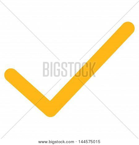Ok Tick vector icon. Style is contour flat icon symbol, yellow color, white background.