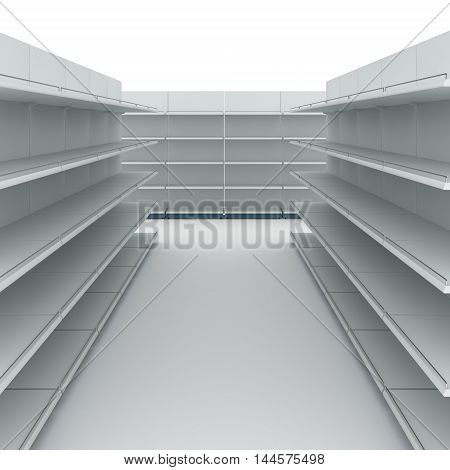Supermarket interior with empty shelves 3d illustration