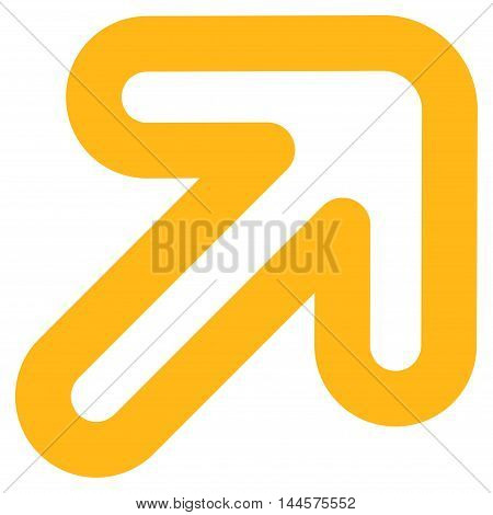 Right-Up Arrow vector icon. Style is stroke flat icon symbol, yellow color, white background.