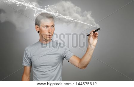 Man making magic effect - flash lightning. The concept of copywriting or writing.