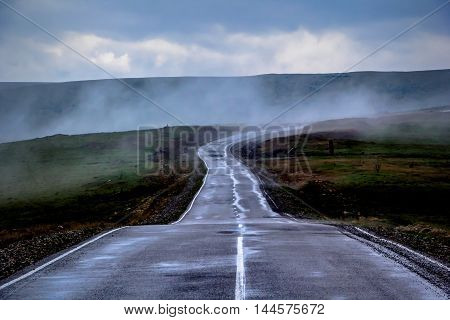 road in the country, rain, mountain hills