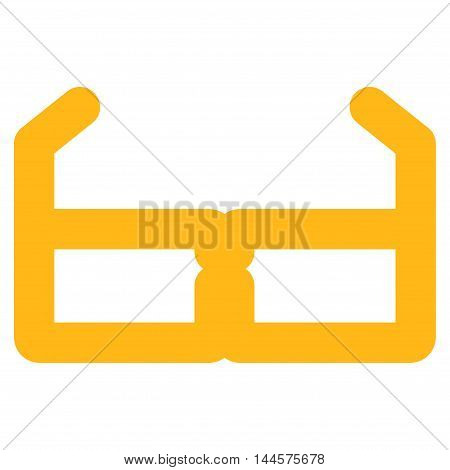Spectacles vector icon. Style is outline flat icon symbol, yellow color, white background.