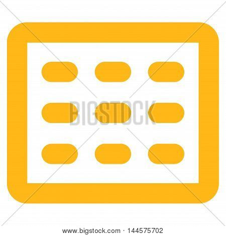 Table Grid vector icon. Style is outline flat icon symbol, yellow color, white background.