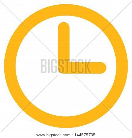 Time vector icon. Style is contour flat icon symbol, yellow color, white background.