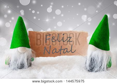 Christmas Greeting Card With Two Green Gnomes. Sparkling Bokeh And Noble Silver Background With Snow. Spanish Text Feliz Navidad Means Merry Christmas