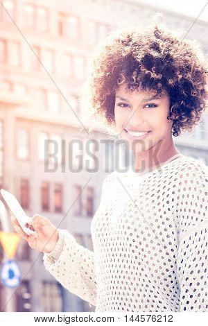 Young African American Girl Posing Outdoor.