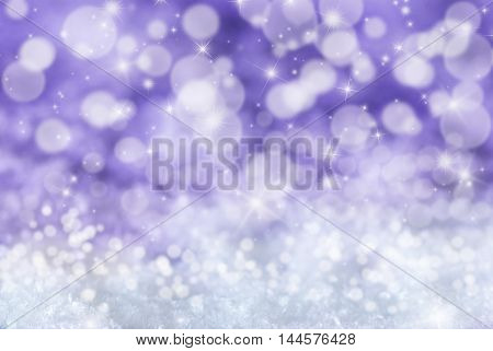 Christmas Texture With Sparkling Stars. Snow With Purple Background. Magic Bokeh Effect With Lights. Copy Space For Advertisement. Card For Seasons Greetings