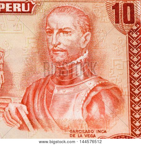 10 soles de oro bank note. Soles de oro is the national currency of Peru