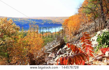 Autumn leaves along rocky hiking trail in Wisconsin