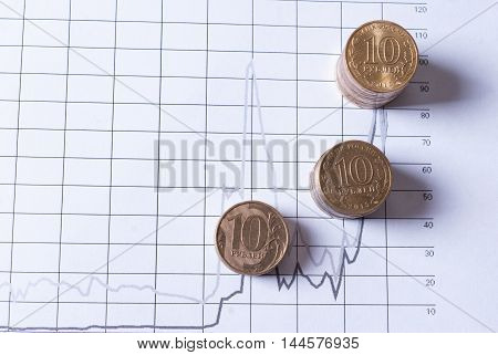 Stacks of coins on financial charts. Concept business investment plan