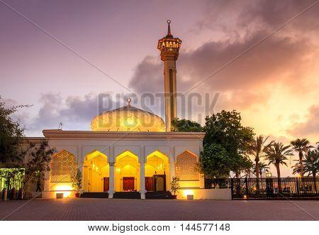 Night view Grand Mosque in Al Bastakiya district of Dubai, UAE