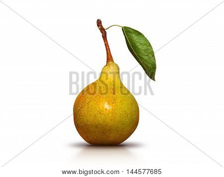 juicy and ripe green pear with leaf on the stalk - photo isolated