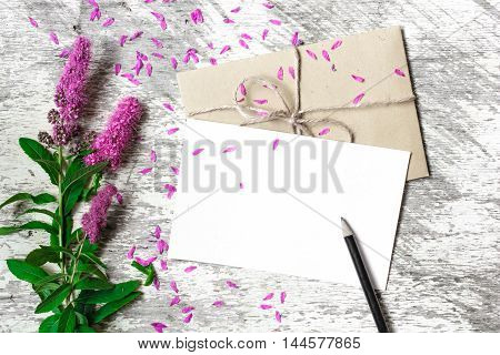 Blank white greeting card envelope and pencil with purple wildflowers on white rustic wood background with petals around for creative work design