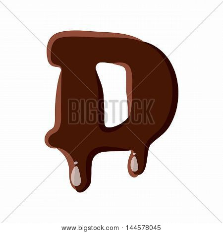 Letter D from latin alphabet with numbers and symbols made of dark melted chocolate
