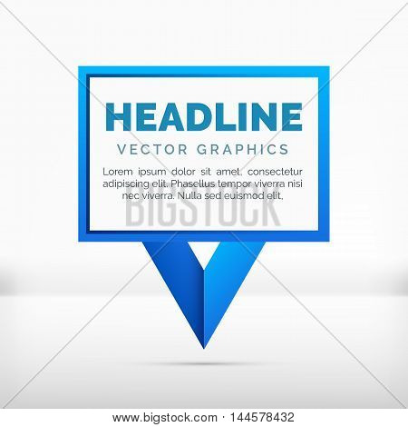 Pointer label vector graphics, blue color, space for your text
